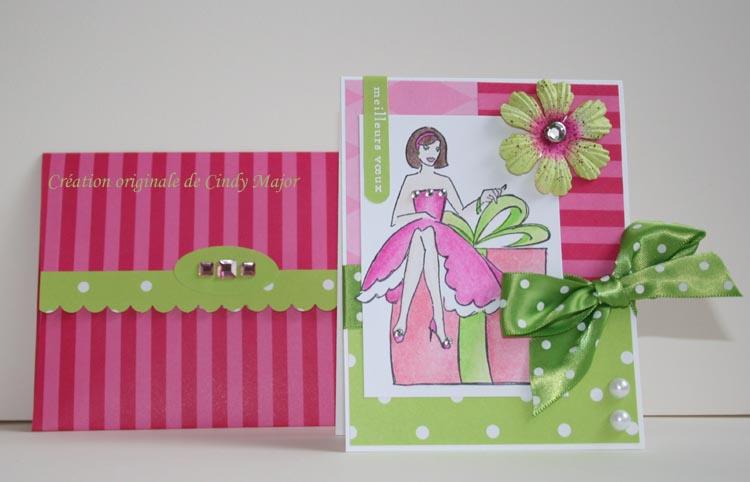 Carte dame sur boite cadeaui_avec enveloppe