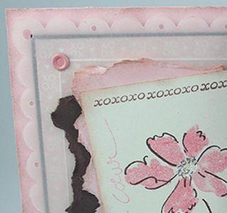 Carte rose et brune velin Sinceres remerciements_close-up 1