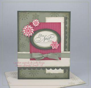 Carte Noel flocons vert et rose rouge
