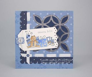 Carte de bebe Bearing Gifts bleue