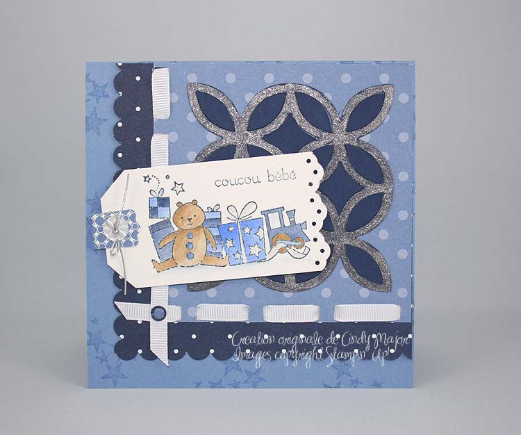 Carte de bebe Bearing Gifts bleue