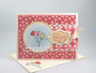Carte Trois fleurs rouge rose safran