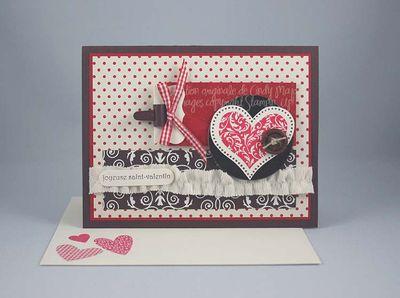 Carte coeur rouge et chocolat papier a pois