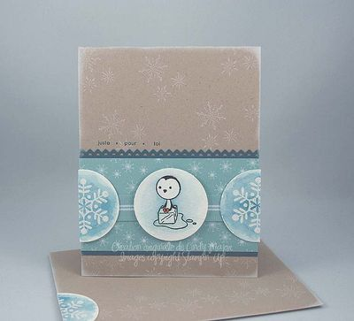 Carte pingouin et flocons de neige