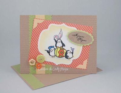 Carte Pingouin et oeuf de Paques