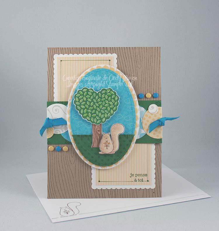 Carte Ecureuil et arbre Vert jardin
