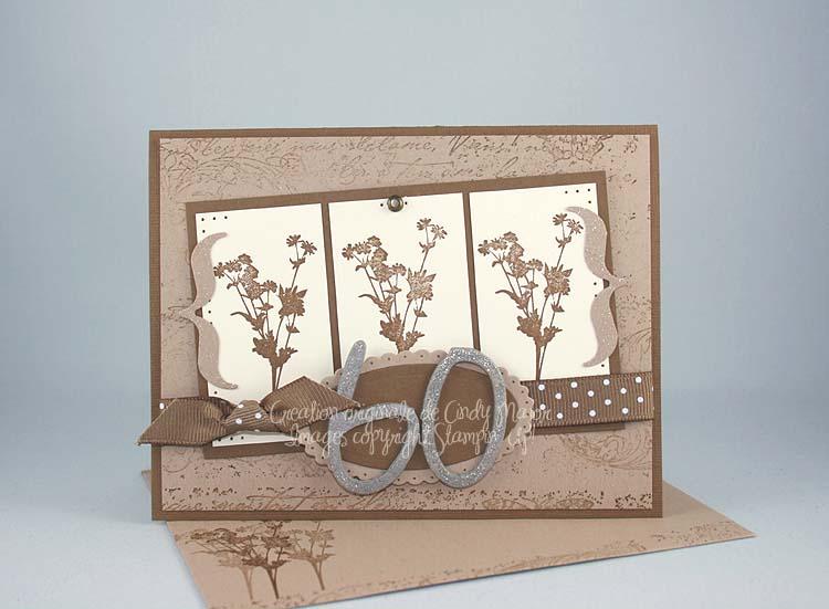 Carte Silhouettes en fleurs Soixante ans