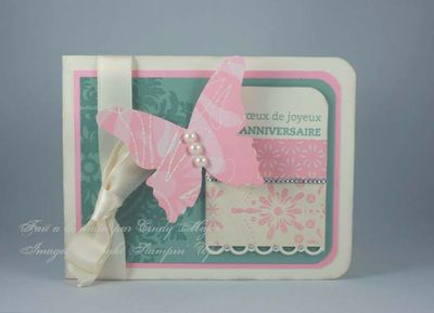 Carte papillon rose sauge vanille