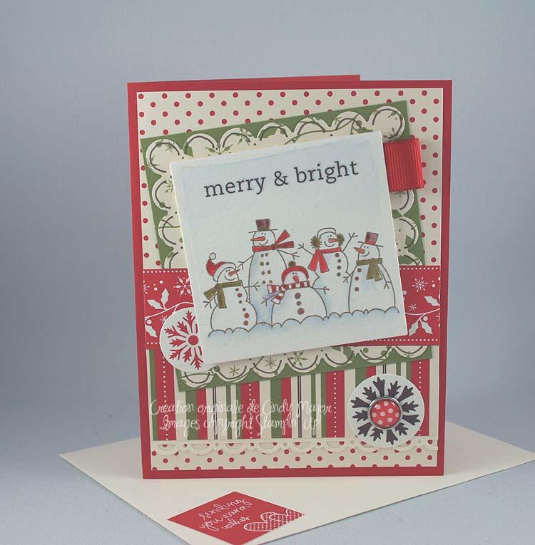 Carte Portrait bonhommes de neige Merry & Bright