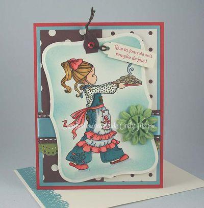 Carte Fillette et biscuits zephyr rubis chocolat olive