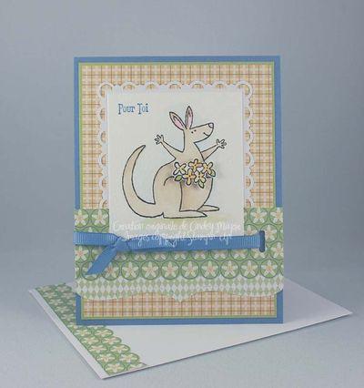 Carte kangourou et fleurs Sarah