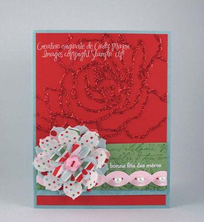 Carte Fleur de tissu et fleurs brillantes