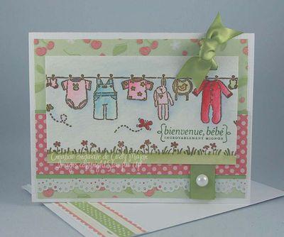 Carte Corde a linge bebe rose