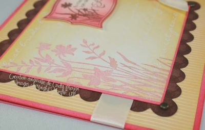 Carte Ombres feuillage rose safran chocolat_close up