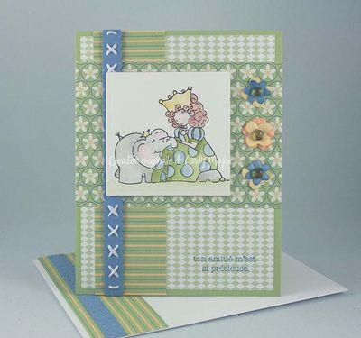 Carte Princesse et elephant Sarah
