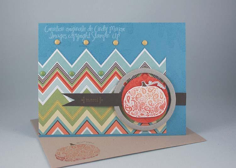 Carte Citrouille et papier zigzag