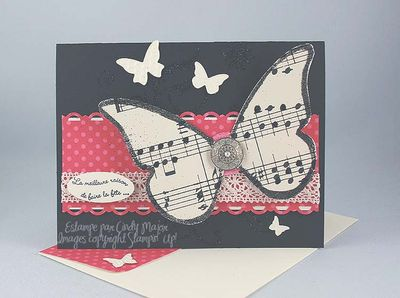 Carte Papillon feuille de musique