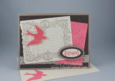 Carte Deco noble oiseau rose