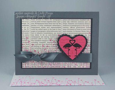 Carte flamands roses dans coeur