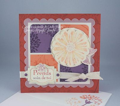 Carte tendresse ocre peche prune
