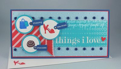 Carte Things I Love turquoise bleu calicot