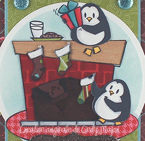Carte pingouins et cheminee Tresor festif_detail