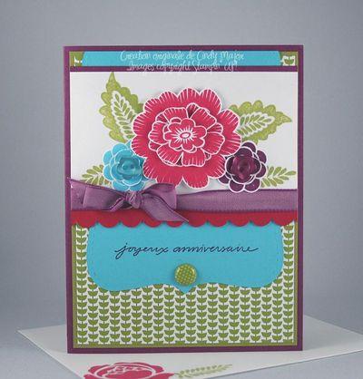 Carte Bouquet Array of sunshine turquoise rouge fruits citron
