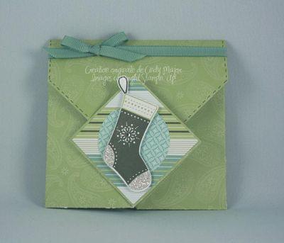 Carte pochette origami bas de Noel gaultherie