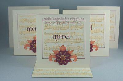 Cartes Notes elegantes remerciement notes de musique