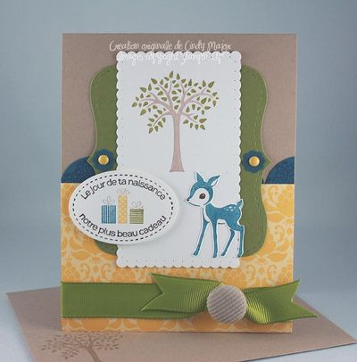Carte Forest Friends narcisse olive marine kraft