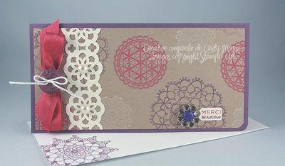 Carte Delicate Doilies rose prune kraft vanille