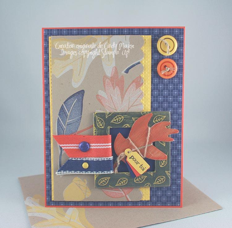 Carte Feuille automne en bois dans cadre de metal