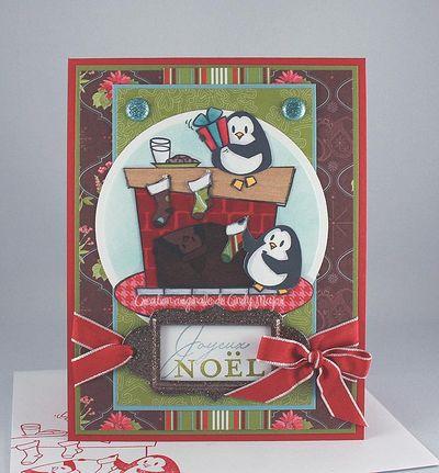 Carte pingouins et cheminee Tresor festif