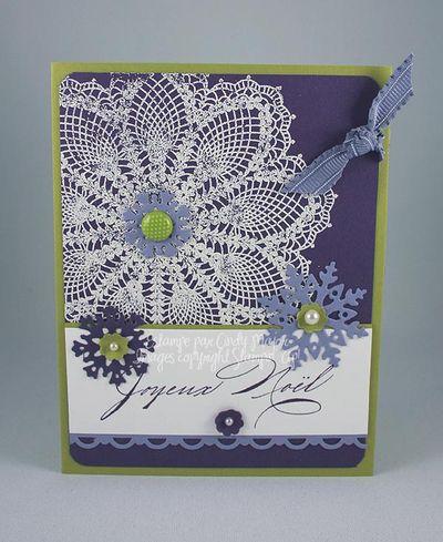 Carte Flocon Doily aubergine citron glycine