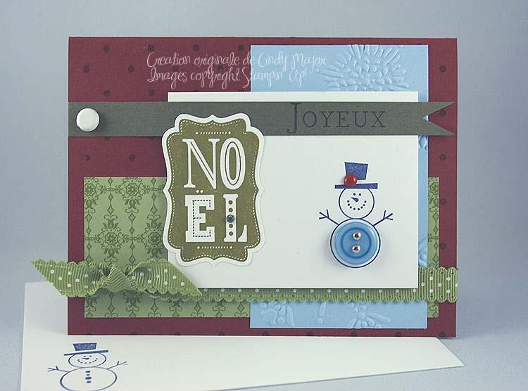 Carte Button Buddies Snowman bleu bordeaux olive artichaut