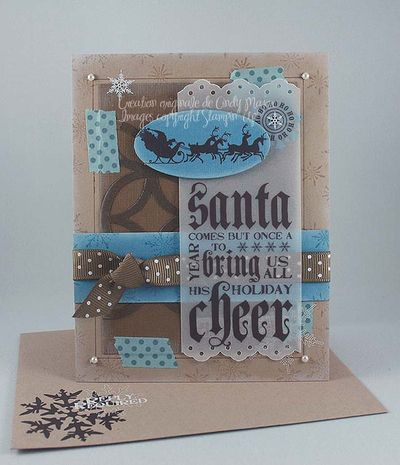 Carte Santa bleu kraft suède