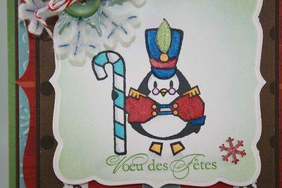 Carte Pingouin et canne en bonbon_close up
