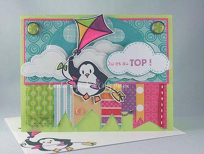 Carte pingouin et cerf-volant colore
