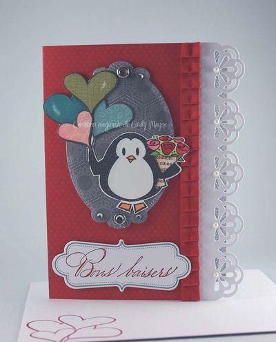 Carte Pingouin St-Valentin Bons baisers