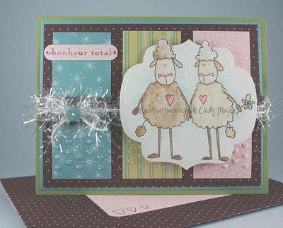 Carte Deux moutons bonheur total