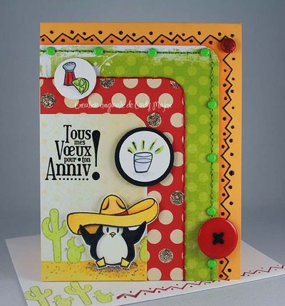 Carte Pingouin tequila voeux anniv