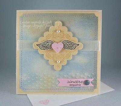 Carte Coeur avec ailes sinceres sympathies