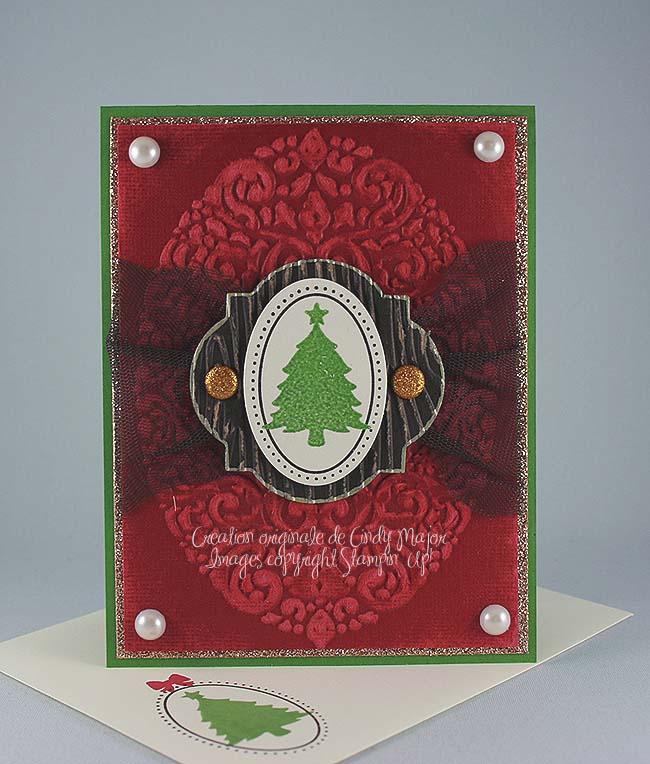 Carte arbre Noel embosse vert