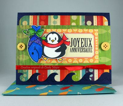 Carte Pingouin et poisson bleu brillant