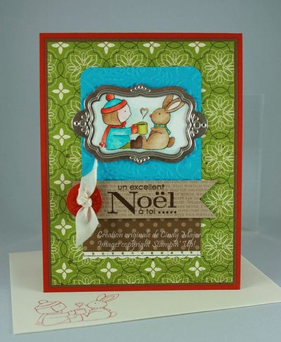 Carte Lapin et fillette excellent Noel