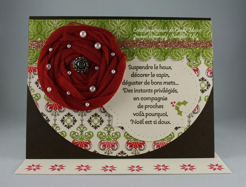 Carte Rose de Noel en tulle