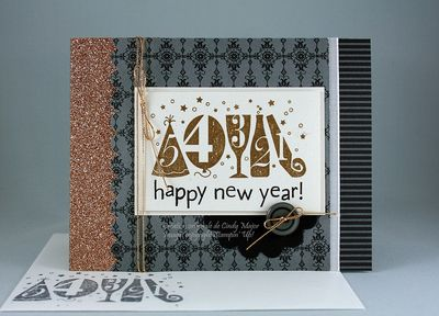 Carte Happy New Year paillettes Champagne