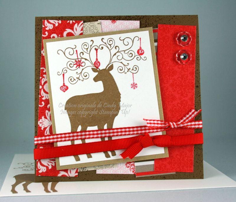 Carte Renne de Noel et retailles