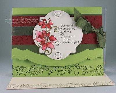 Carte poinsettias bordure embossee
