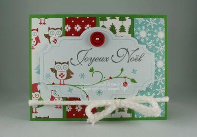 Carte Etiquette hibou de Noel